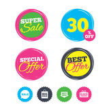 Sale speech bubble icons. Buy now arrow symbol. Super sale and best offer stickers. Sale speech bubble icons. Buy now arrow symbols. Black friday gift box signs Royalty Free Stock Photo