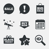 Sale speech bubble icons. Buy now arrow symbol. Royalty Free Stock Photography
