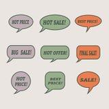 Sale speech bubbles. Set of  illustration icons. Stock Photos