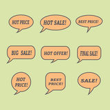 Sale speech bubbles. Set of  illustration icons. Royalty Free Stock Photography
