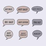 Sale speech bubbles. Set of  illustration icons. Stock Image