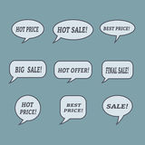 Sale speech bubbles. Set of  illustration icons. Stock Images