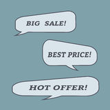 Sale speech bubbles. Set of  illustration icons. Stock Photography