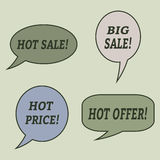 Sale speech bubbles. Set of  illustration icons. Royalty Free Stock Images