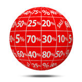 Sale Sphere with Percent Discount Royalty Free Stock Photos