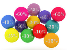 Sale spheres with percent discount Royalty Free Stock Photo