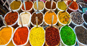 Sale of spices in the markets of India royalty free stock photography