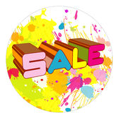 Sale splash. Sale logo and shopping bag created in illustrator Stock Photography