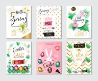 Sale Spring Easter Holiday banners set. Sale banners, flyers, coupons, gift card, price tag, concept design set. Spring Holiday sales posters with green foliage Stock Illustration