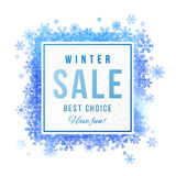 Sale square banner with blue watercolor snowflakes Royalty Free Stock Photography