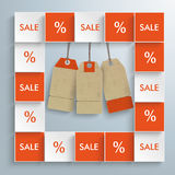 Sale Squares Price Stickers. Squares with price stickers on the gray background Royalty Free Stock Photos