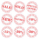 Sale stamp vector set Royalty Free Stock Images