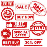 sale stamps. White background with  sale stamps Royalty Free Stock Photography