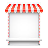 Sale Stand with Red Awning Royalty Free Stock Photos
