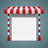 Sale stand with red awning. Sale stand with red awning and red white striped rack. Product presentation template. Vector illustration Stock Photo