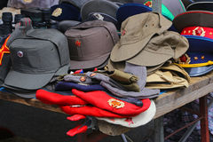 Sale stand of Soviet and DDR militaria near Checkpoint Charlie in Berlin Royalty Free Stock Photography