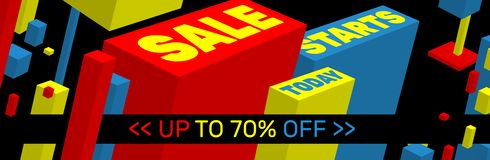 SALE STARTS TODAY Banner design royalty free stock image