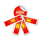 Sale sticker with attached labels and with letters FREE Royalty Free Stock Photo