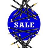 Sale Sticker. Blue Background. Pencils Illustration. stock illustration