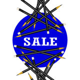 Sale Sticker. Blue Background. Pencils Vector Illustration. vector illustration