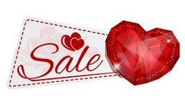Sale sticker with gem heart Royalty Free Stock Photo