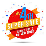 Sale Sticker or Label for American Independence Day. Stock Photography