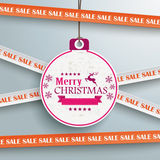 Sale Sticker Lines Christmas Bauble Price Sticker. Sale sticker with lines on the grey background Royalty Free Stock Photo