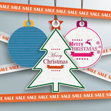 Sale Sticker Lines Christmas Bauble Tree Price Sticker. Sale sticker with lines on the grey background Royalty Free Stock Photography