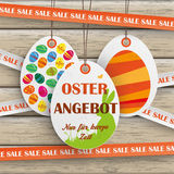 Sale Sticker Lines Easter Offer Wood Stock Photos