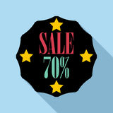 Sale sticker 70 percent off icon, flat style Royalty Free Stock Photos