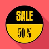 Sale sticker 50 percent off icon, flat style. Sale sticker 50 percent off icon. Flat illustration of sale sticker 50 percent off icon for web isolated on coral vector illustration