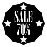 Sale sticker 70 percent off icon, simple style. Sale sticker 70 percent off icon. Simple illustration of sale sticker 70 percent off vector icon for web Stock Image