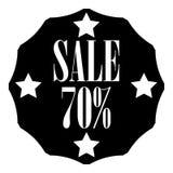 Sale sticker 70 percent off icon, simple style. Sale sticker 70 percent off icon. Simple illustration of sale sticker 70 percent off icon for web royalty free illustration