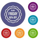 Sale sticker 50 percent off icons set. In flat circle reb, blue and green color for web stock illustration