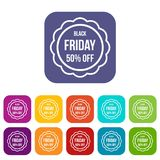Sale sticker 50 percent off icons set. Vector illustration in flat style in colors red, blue, green, and other stock illustration