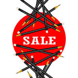 Sale Sticker. Red Background. Pencils Vector Illustration. Royalty Free Stock Photography