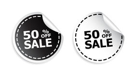 Sale sticker. Sale up to 50 percents. Black and white vector ill. Ustration Royalty Free Stock Images
