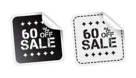 Sale sticker. Sale up to 60 percents. Black and white vector ill. Ustration Stock Image
