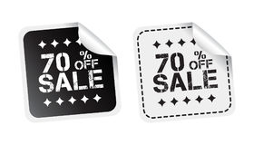 Sale sticker. Sale up to 70 percents. Black and white vector ill Stock Images