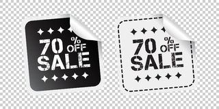 Sale sticker. Sale up to 70 percents. Black and white vector ill Stock Photography