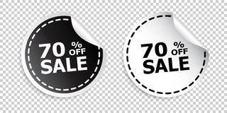 Sale sticker. Sale up to 70 percents. Black and white vector ill Stock Photos