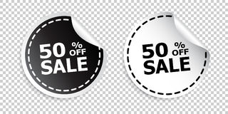 Sale sticker. Sale up to 50 percents. Black and white vector ill. Ustration Stock Photo