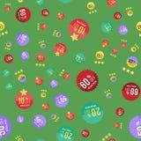 Sale sticker seamless pattern on green background. Flat illustration EPS 10 Stock Photo