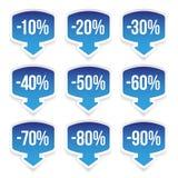 Sale sticker set blue Royalty Free Stock Image