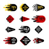 Sale sticker set with hand drawn elements in yellow, red and black colors on white background. Special offer. Hot price. And Big discount. Up to 70 percent. For Stock Images