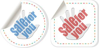 Sale sticker set with hands Stock Photos