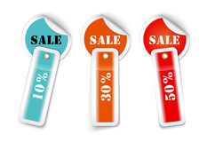 Sale sticker style sign with attached labels Stock Photos