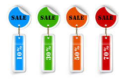 Sale sticker style sign with hanging labels Stock Photography