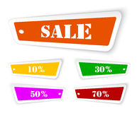 Sale sticker style sign in perspective Stock Photos