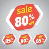 Sale Sticker Tag for Marketing Retail Element Design. With 80% 85% Off. Vector Illustration. Bla Stock Photography
